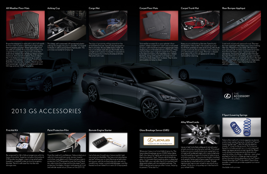 lexus  u2013 2013 vehicle accessories catalog